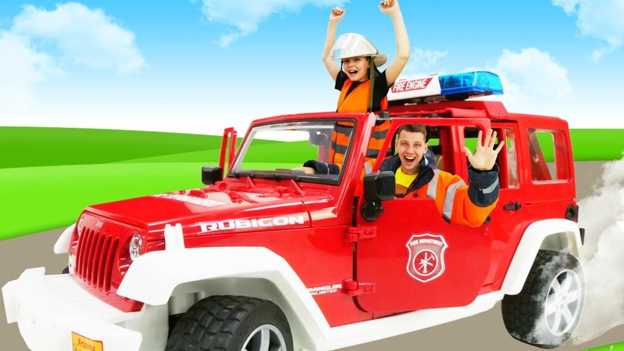Машинки для мальчиков - Пожарные спешат на вызов! - Игры с Трансформерами.