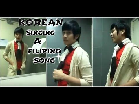 """Korean guy singing a Filipino song entitled """"Narito ako"""""""