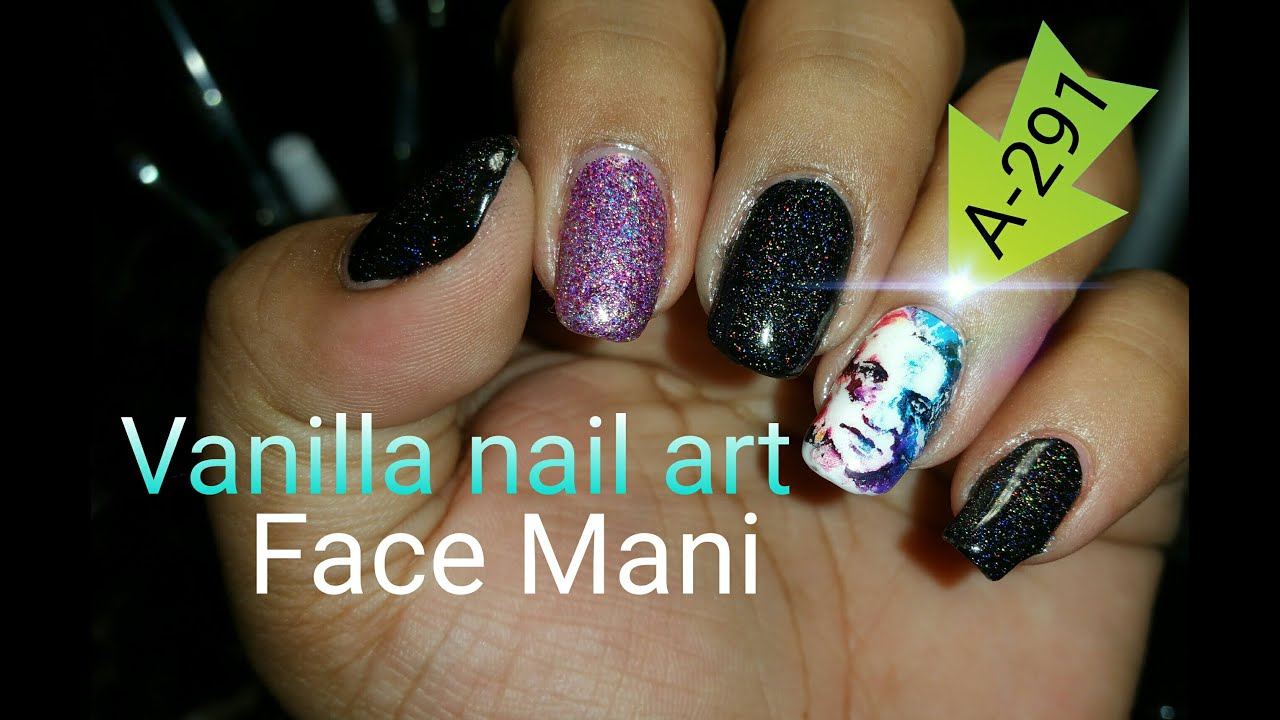 Vanilla nail art face mani - YouTube