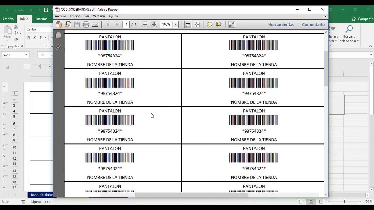 Generar E Imprimir Código De Barras Con Excel Youtube