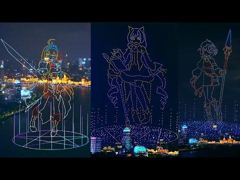 プリコネR ドローンショー1500機 上海 外灘、Princess Connect Drone Show in The Bund, Shanghai, China 《公主连结》千架无人机周年庆生表演!