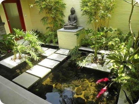 kombinasi taman dan kolam ikan rumah moderen masa kini