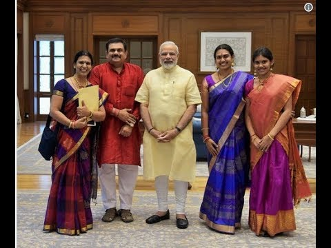 ms subbulakshmi granddaughters Aishwarya and saundarya meet Prime Minister Narendra Modi
