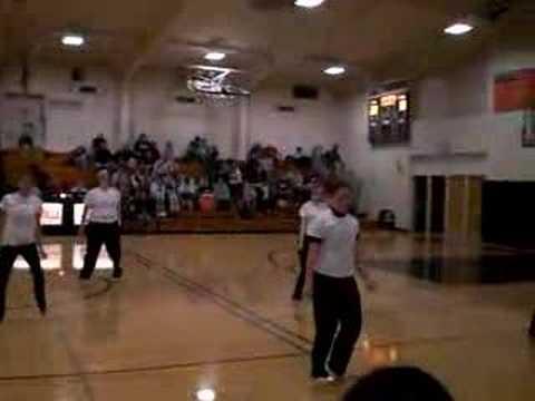 Dodgeville cheerleaders dance.