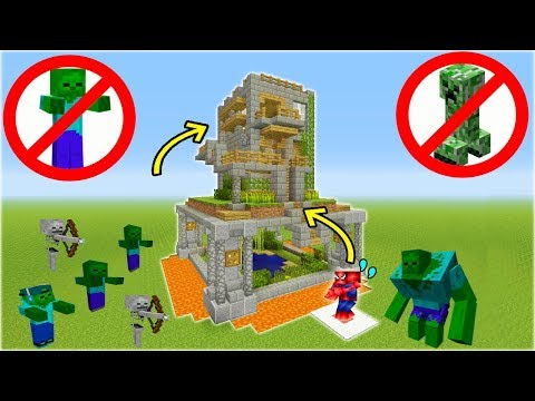 "Minecraft Tutorial: How To Make A Safe House ""Mob Proof House"""