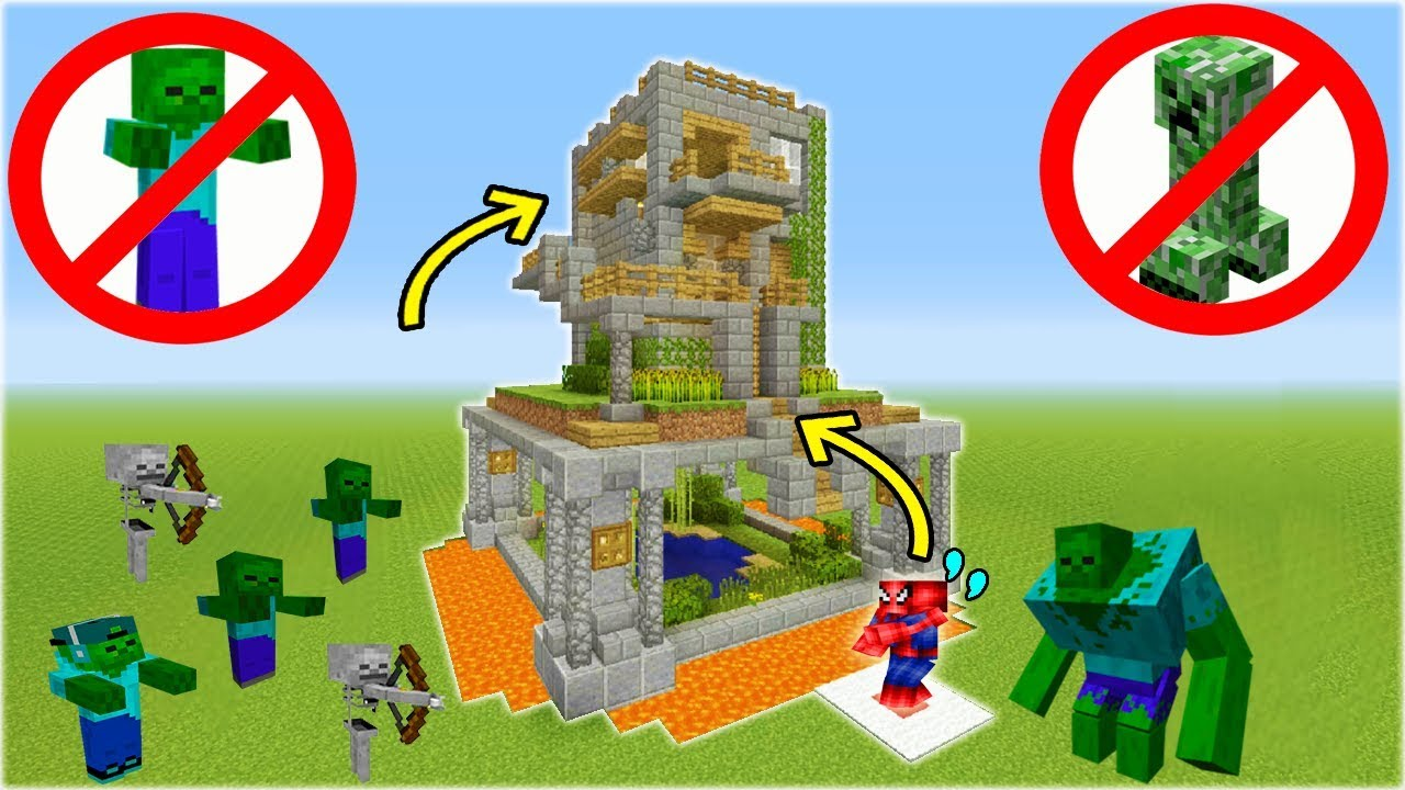 """Minecraft Tutorial: How To Make A Safe House """"Mob Proof House"""""""