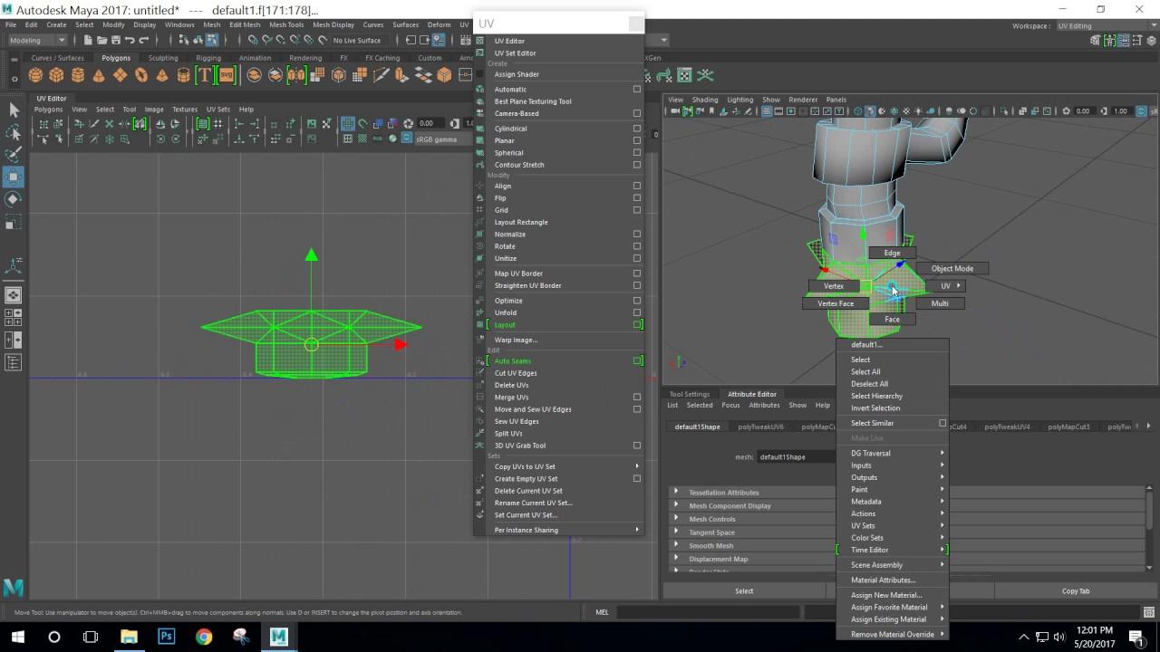 Maya 2017 tutorial : UV Mapping with the UV Editor in Maya 2017 part 01