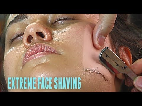 SHAVING A EUROPEAN WOMAN'S FACE V.3! *EXTREME* Straight Razor Tutorial HD!