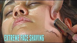SHAVING A EUROPEAN WOMAN\'S FACE V.3! *EXTREME* Straight Razor Tutorial HD!
