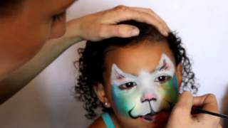 Colorful Kitty Face Paint Tutorial