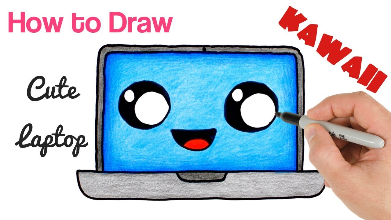 How To Draw Laptop Cute Stuff Drawing Easy Back School Art Tutorial Kawaii