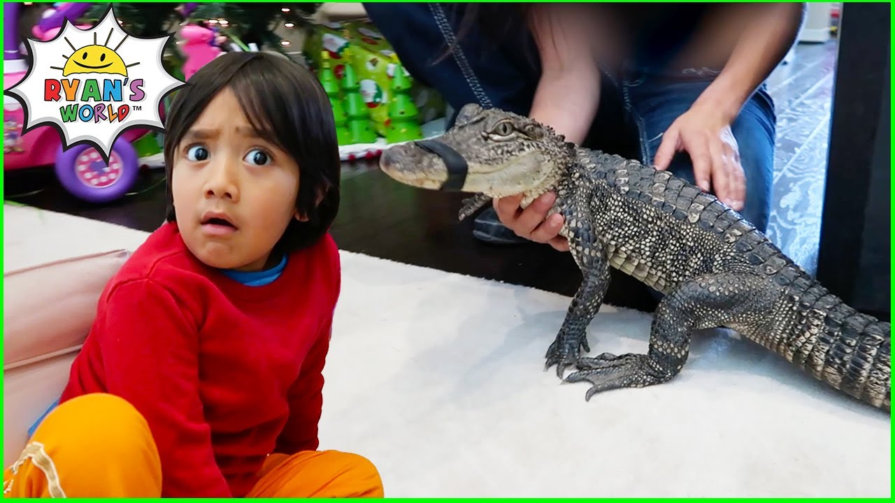 Surprise Ryan with Pet Alligator and other Animals at home!!!