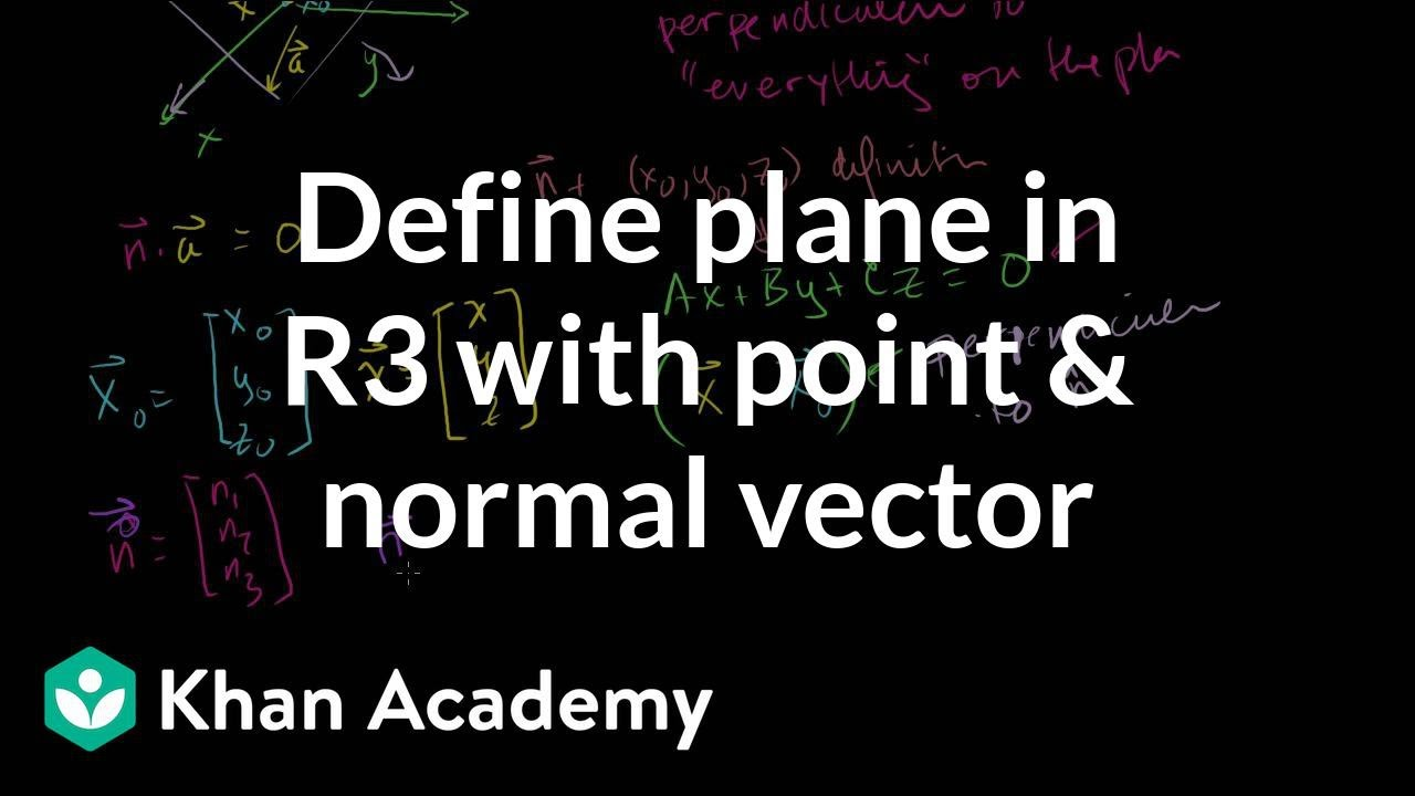 Defining a plane in R3 with a point and normal vector (video) | Khan