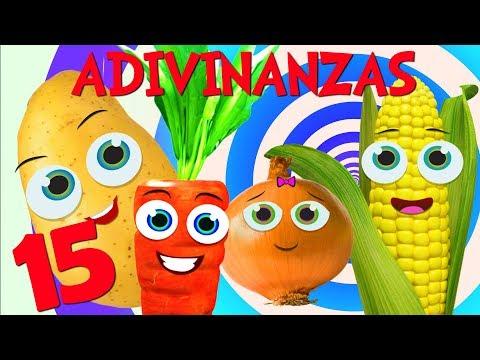 Adivinar Jugando con las 15 Adivinanzas cortas con respuesta de Verduras y Mas _ Video para niños