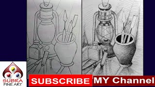 Still Life Drawing For Beginners | How To Draw Still Life Drawing With Ink Pen And Jel Pen | Drawing