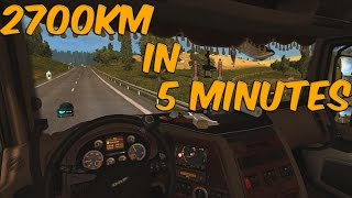 ETS 2: 2700km in 5 minutes timelapse France - Russia (ProMods 2.11 + RusMap 1.6.3)