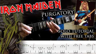 Iron Maiden - Purgatory Dave Murray's solo lesson (with tablatures and backing tracks)