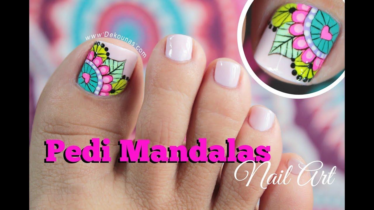 Diseño De Uñas Pies Mandalas Mandala Toenail Art Youtube