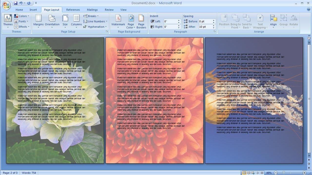 Belajar Microsoft Word 2007 Cara Membuat Picture Watermark Hanya Halaman Yang Dipilih Youtube