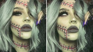 stapled up halloween makeup look using smashbox cosmetics