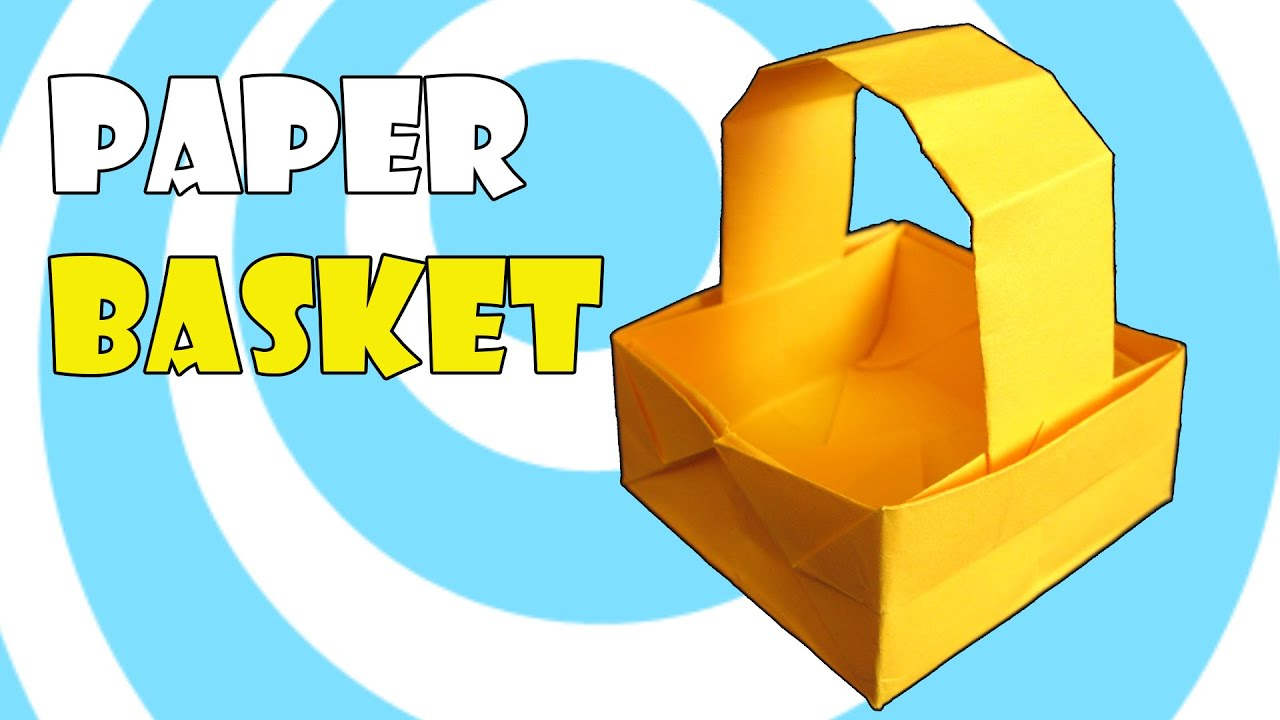 Papercraft Paper Origami Basket with Handle Instructions
