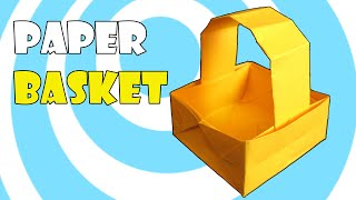 Paper Origami Basket with Handle Instructions