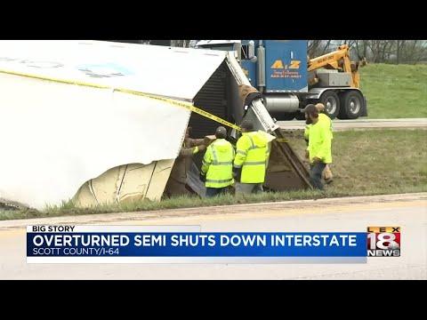 Overturned Semi Shuts Down Interstate