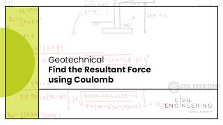 Civil PE Exam - Geotech -  Find the Resultant Force using Coulomb