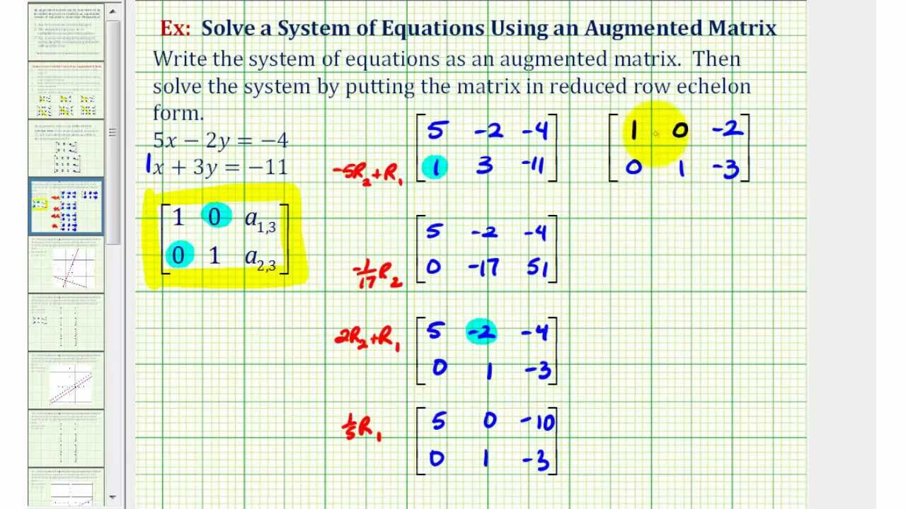 Solving Systems Of Equations With Matrices Reduced Row Echelon Form - Tessshebaylo