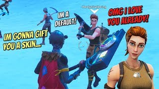 Gifting This Default Skin Girl A New Skin... (Gifting Her Fortnite Skins)