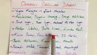 Osmanlı Dağılma Dönemi Genel Tekrar  Tyt, Ayt, Kpss Tarih 2021