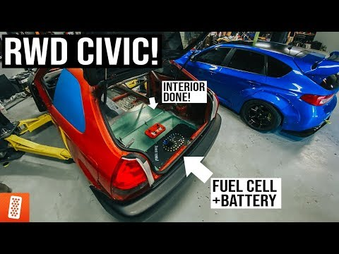 RWD CIVIC: Installing The Fuel Cell, Battery & Fabricating Custom Interior Panels (Ready For PAINT!)