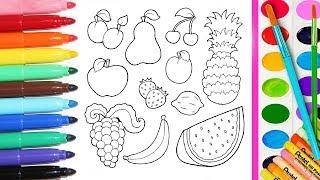 ✿Раскраски для детей. Изучаем цвета. Раскрашиваем фрукты. Познавайка ТВ✿