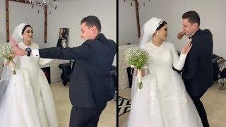 عريس وعروسة خطفوا الانظار برقصهم على مهرجان
