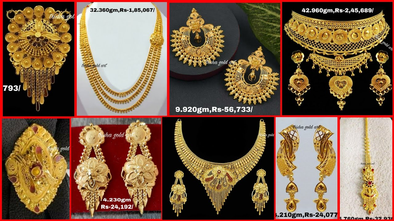 Latest gold mangalsutra Jhumka earring Pendant necklace ring with weight and price//trisha gold art