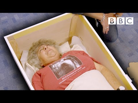 Trying on a coffin to make sure it fits just right ⚰️⚰️⚰️ - BBC