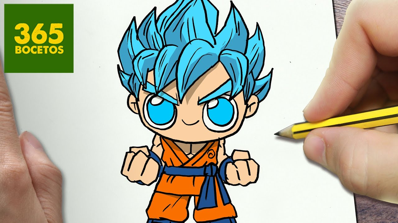 COMO DIBUJAR GOKU SSJ DIOS KAWAII PASO A PASO , Dibujos kawaii faciles ,  How to draw a GOKU , YouTube