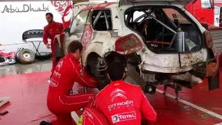 WRC 73 Rally Poland 2016 - 30 min Service of Stephane Lefebvre damaged Citroen WRC