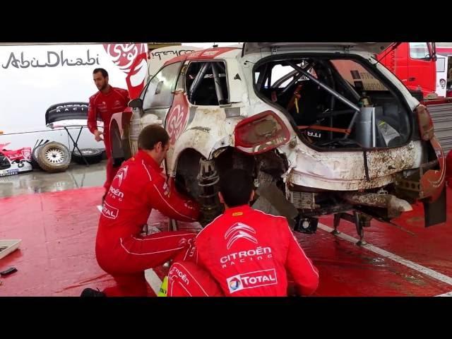WRC 73 Rally Poland 2016 – 30 min Service of Stephane Lefebvre damaged Citroen WRC
