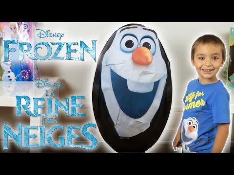 OEUF GEANT REINE DES NEIGES OLAF - Unboxing SUPER GIANT Surprise Egg FROZEN - Disney Frozen Videos |