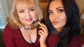 ASMR Doing my Friend's Makeup | Soft Speaking Glam Makeup Mature Skin Rain Sounds
