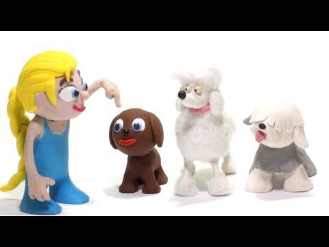 Elsa training doggies 💕 Superhero Play Doh Stop motion cartoons for kids
