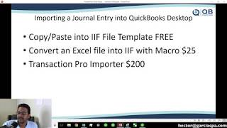 Importing Journal Entries into QuickBooks Desktop (from Excel or CSV)