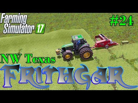 Let's Play Farming Simulator 2017, North West Texas #24 Baling A Massive Windrow!