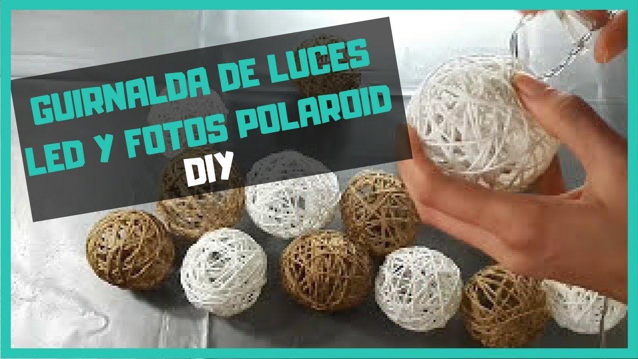 guirnalda DIY de luces LED, fotos polaroid y bolas de cuerda con ...