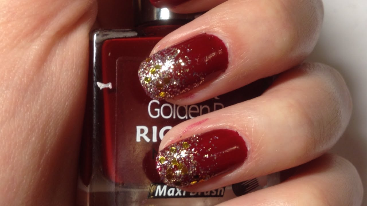 Dark Red Nail Polish With Glitter Hession Hairdressing