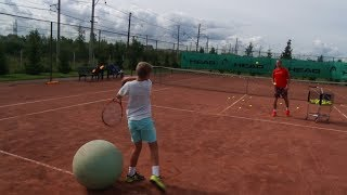 Tennis. Exercise 1. The work of the racket on the ball.