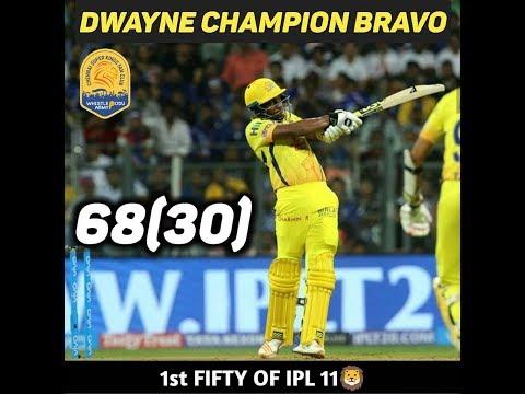 Dj Bravo Full Inning 68 (30) vs Mi  IPL 2018 | CSK | Bravo
