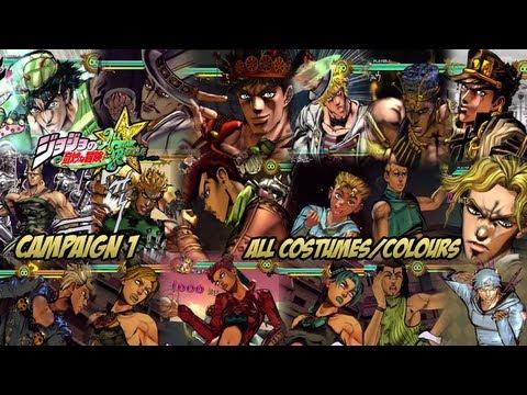 JoJo's Bizarre Adventure: All Star Battle - Campaign 1: All Costumes/Colors!