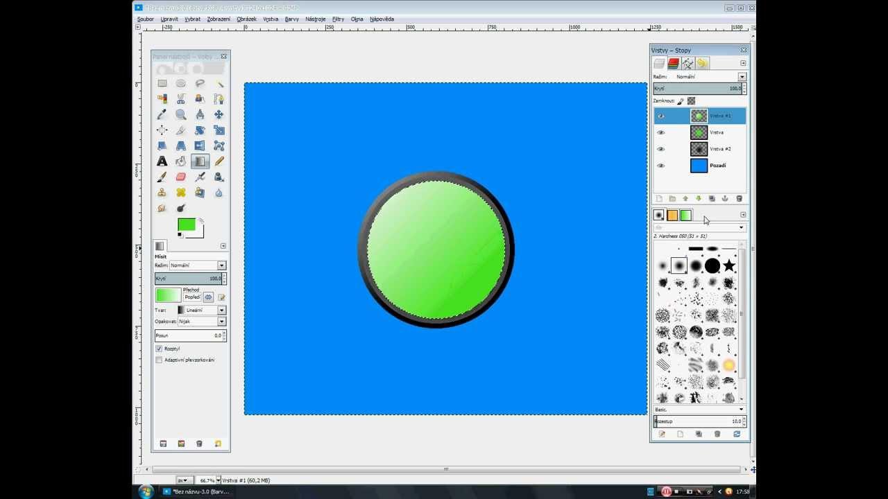 Gimp Tutoriál - Kruhové tlačitko na Web [GimperCZ]